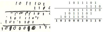 Figure 4 : (à g. texte de Leibniz, à dr. transcription) Multiplication 93 x 14 = 1302 (explications ci-après).